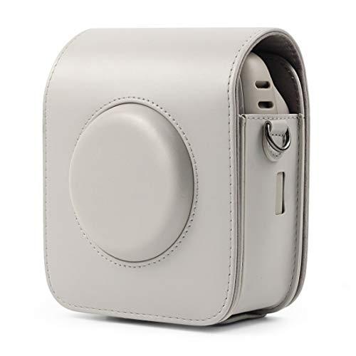 Camera Bag BZN Full Body Body PU Sac en Cuir avec Sangle for Fujifilm Instax Square SQ20 (Blanc) (Noir) (Marron) (Couleur : Blanc)