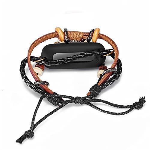 Reloj de reemplazo de rebordear Correa de muñeca para MI BAND 2 Muñequera Accesorios de moda Muñeca Smart Watch Brown (Color : Brown)