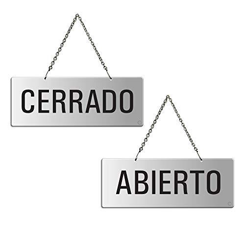 Placa Aluminio | Cartel para Colgar Abierto - Cerrado | 175x65 mm | auténtico Ofform | No.31209-E