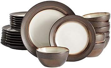 Mikasa Tristan Dinnerware Set, Service For 8, Metallic Brown