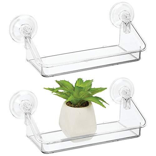 mDesign 2er Set kleines Hängeregal – praktischer Ablagekasten zum Aufhängen für Fenster und Spiegel – Fensterregal aus widerstandsfähigem Kunststoff – durchsichtig