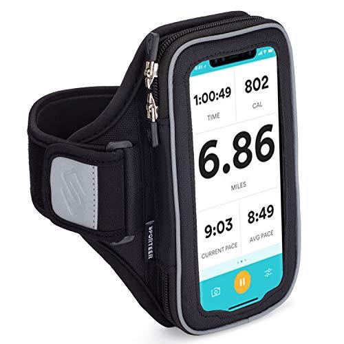 Sporteer Velocity V6 Sportarmband für iPhone 11, XR, 11 Pro, Xs, 8, 7, Galaxy Note 10, Galaxy S20, S10, S10e, S9, S8, Pixel 4, 3a, LG, Moto, und Mehr, Passend für die Meisten Schutzhüllen