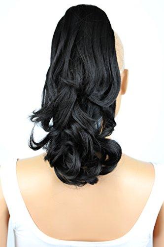 PRETTYSHOP 30cm Postiche Natte Queue De Cheval Extensions De Cheveux Volumineux Ondulé Noir Naturel H130