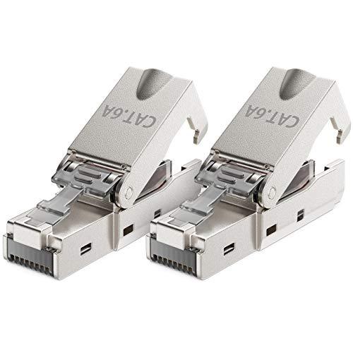 deleyCON 2X CAT 6a Werkzeugloser RJ45 Netzwerkstecker mit LSA Anschluss für Starre Verlegekabel Geschirmt 10Gbit/s LAN Kabel Netzwerkkabel Stecker CAT6a Metallgehäuse