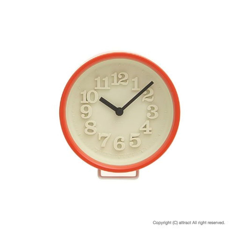 Lemnos レムノス 小さな時計 WR0715 レッド スタンド付属 置時計 壁掛け時計 掛時計 ウォールクロック デザイン:渡辺力  (インテリア デザイン 雑貨)