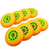 Z-FIRST 8 Pack 90mm Inline Roller Skate Wheels 85A Premium Replacement for Rollerblade Wheels (Orange-Green)