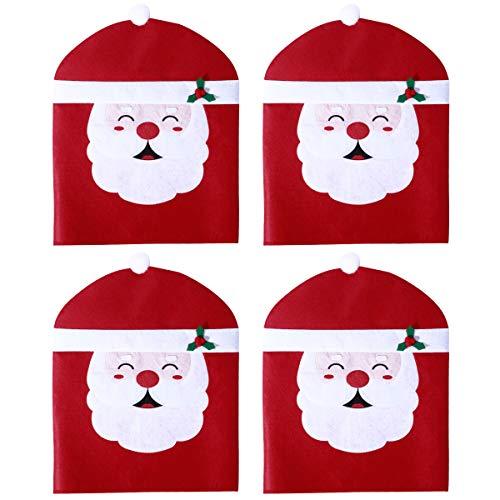 Hemoton 4 Stück Weihnachten Stuhlhusse Weihnacht Dekoration Nikolaus Stuhlabdeckung für Esszimmer 50X60cm