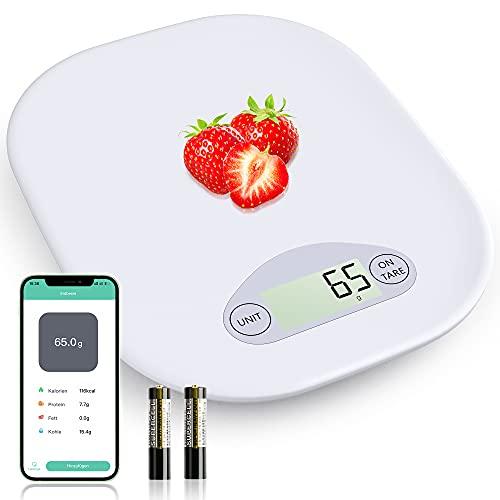 NBPOWER Küchenwaage Digital 5 KG Waage Küchenwaage mit App,Smart Grammwaage mit Bluetooth-Anwendung und LCD-Display, Ernährungsrechner für Kalorie Protein, Abnehmen, Backen und Kochen