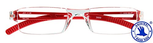 I Need You Lesebrille Joy - Dioptrien: +2,00 Kristall-Rot