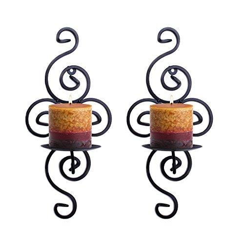 Meshela – 2 portavelas colgantes de hierro para la pared de estilo vintage