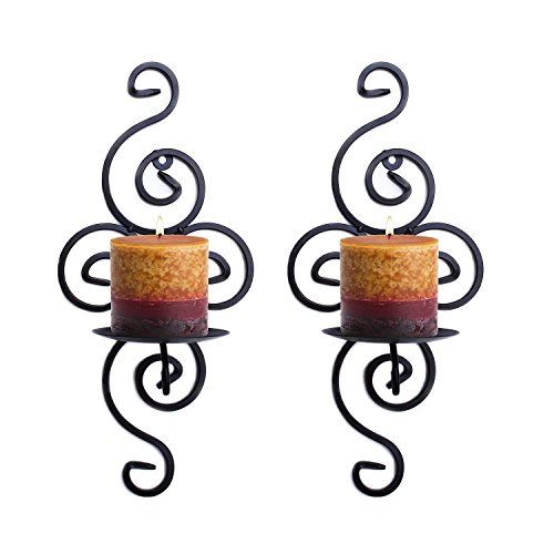 Wall Candle Sconces,Meshela Set of 2 Vintage Swirling Iron Hanging Wall Mounted Decorative Candle Holder for Home Decorations,Parties,Events