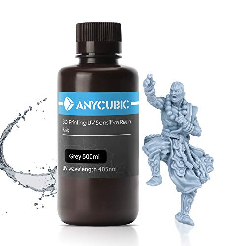 ANYCUBIC 3D Printer Resin, 405nm High Precision Fast Curing UV Photopolymer Resin for Photon/S/Mono/Mono X,Mars,LCD/DLP/SLA 3D Printer(Grey, 500ml)