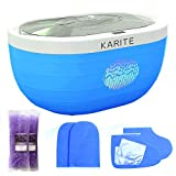 KARITE Paraffin Wax Machine for Hand and Feet, Fast Wax Meltdown Paraffin Bath, 3000ml Large Capacity Paraffin Wax Warmer with 2lb Paraffin Wax Refills & Thermal Mitts for SPA (Blue)