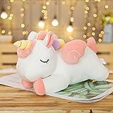 Decanyue Simpatico Bambola da Sogno Unicorno di Grandi Dimensioni 40-100 cm Peluche Arcobaleno Angelo Cavallo Che Dorme Cuscino Bambola di pezza Regalo di Compleanno 60 cm Bianco