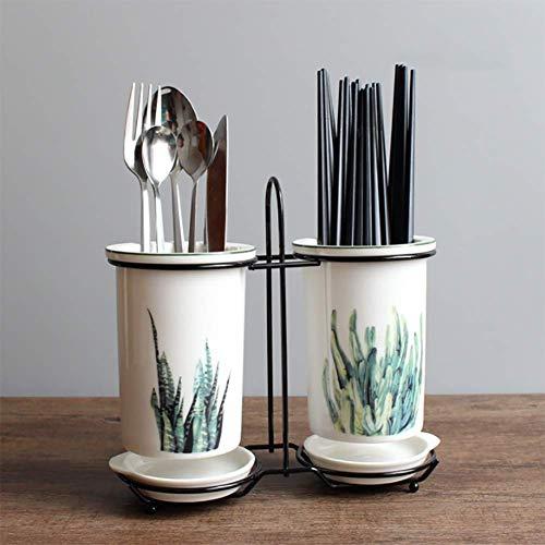 箸立て箸ラックドレインラックキッチン食器収納排水穴セラミッククリエイティブファッション植物かわいいホームキッチンダイニングテーブルツール (アロエ)