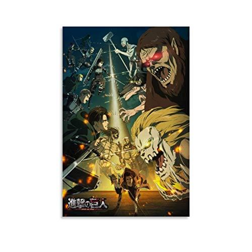 DHSJ Attack on Titan - Poster decorativo per la stagione finale, su tela, per soggiorno, camera da letto, 20 x 30 cm