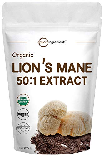 Sustainably US Grown, Organic Lions Mane Mushroom Powder (Lions Mane Supplements 50:1 Extract), 8 Ounce, Strongly Supports Mental Clarity, Focus, Memory, Nervous System & Immune System, Vegan Friendly