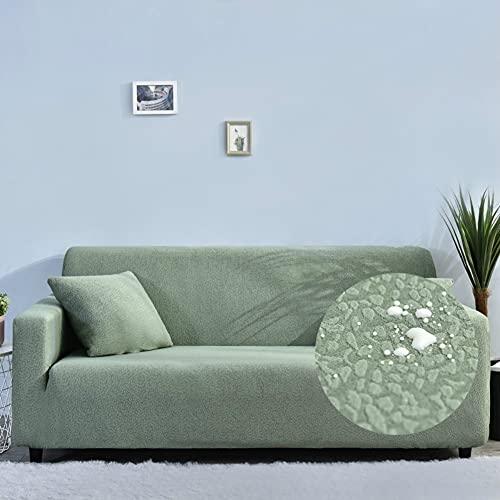Funda Elástica para Sofá de 1/2/3/4 Plazas, Chickwin Moda Seersucker Color sólido Universal Antideslizante Tejido Elástico Lavable Extensible Cubierta Protector de Sofá (Verde Oliva,4 plazas)