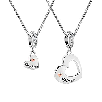 CharmSStory Mom Mother Daughter Heart Love Dangle Charm Beads for Snake Chain Bracelet  Mother Daughter Charms Necklace