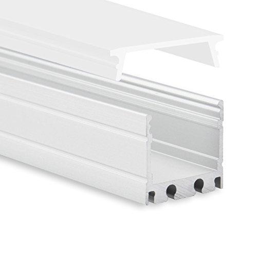 LED Aluminium Profil P8 Kocab LED Profil 2m für LED Streifen bis zu 16mm inkl. Abdeckung Opal (milchige Abdeckung) LED-Aluprofil