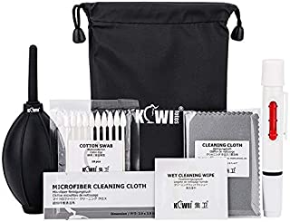 Compact Camera Lens Cleaning Kit including Silicone Dust Air Blower, Lens Cleaning Pen, Microfiber Cleaning Cloth, Wet Cleaning Wipe and Cotton Swab with Carrying Pouch for Canon Sony Nikon Fujifilm