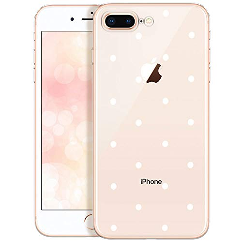 OOH!COLOR Funda de teléfono móvil para iPhone 8 Plus/iPhone 7 Plus Funda Protectora Transparente Funda de Silicona iPhone 7+ / 8+ Parachoques con Motif Puntos Blancos