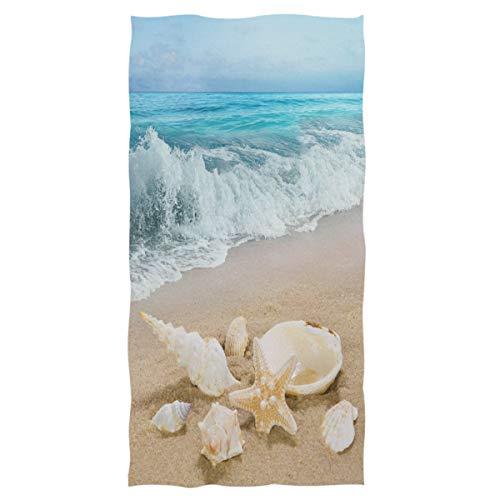 Wamika Beach Seashell Starfish Hand Towels Sea Ocean Wave Bathroom Towel Ultra Soft Absorbent Multipurpose Towels for Hand,Face,Gym,Sports Home Decor, 16x30