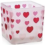 justbelight Portavelas de cristal esmerilado de 5 cm con forma de corazón, ideal como regalo de cumpleaños, amor, romanticismo (corazones)