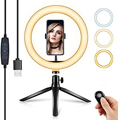 """10.2"""" Selfie Ring Light with Tripod Stand & Cell Phone Holder for Live Stream/Makeup, Dimmable LED Beauty Camera Ringlight for YouTube Video/Photography/Vlog/Tiktok, Compatible with iPhone/Android by KONPCOIU"""