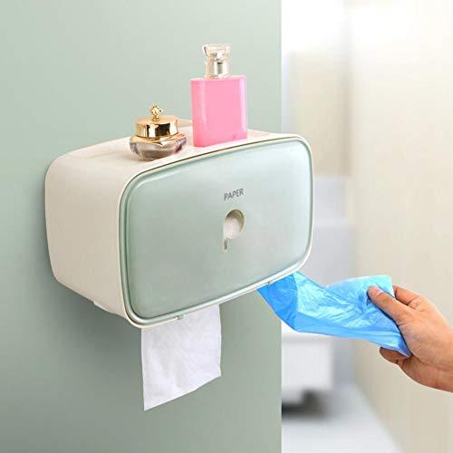 Soporte para papel higiénico Caja de almacenamiento de papel higiénico Fácil de instalar Caja de pañuelos montada en la pared Tubo de papel en rollo Caja de papel para hotel(green)