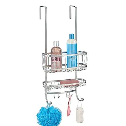 mDesign Estantería de ducha para colgar sobre la mampara – Práctico colgador para ducha sin taladro – Cestas metálicas con ventosas y 4 ganchos para champú, cuchillas, etc. – plateado