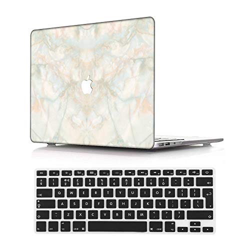 NEWCENT MacBook Pro 13' Retina Case,Plastic Ultra Slim Light Hard Case UK Keyboard Cover for MacBook Pro 13 inch Retina Display No CD-ROM/Touch(Model:A1425/A1502),Marble A 44