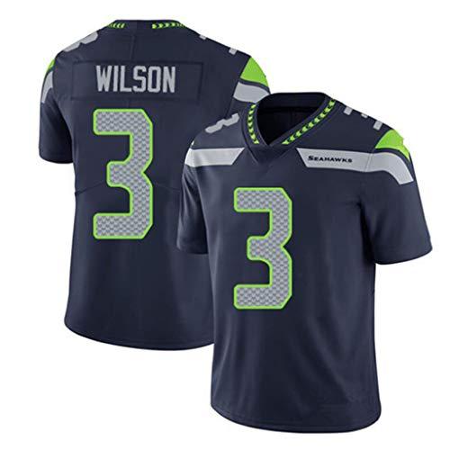 Seattle Seahawks Rugby Trikot, Russell Wilson Trikots American Football Trikot Sport T-Shirt Fan Uniform Kurzarm (S-3XL)-XXXL