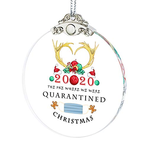 Erwei International 2020 Christmas Ornament Quarantined Hanging Ornaments Present Friends Survive Novelty Souvenir Christmas Tree Pendant