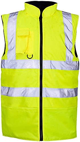 Chaleco para hombre de alta visibilidad reflectante Hi Viz con forro polar reversible para trabajo, amarillo, XXL