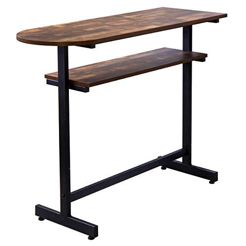 リファニ ヴィンテージ風カウンターテーブル 幅120cm バーテーブル 木製 スチール脚 ハイテーブル カウンター デスク バーカウンター ブラウン SI-023(BR)