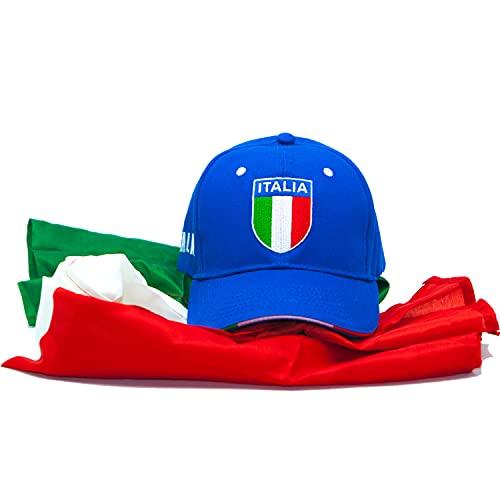 Generico Kit Cappello Italia con Visiera, Nazionale Italiana, con Logo Tricolore, Bandiera Italia Tricolore 70x100cm.