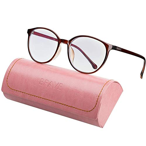 Brave Blaulichtfilter Brille Computer Glasses mit transparenten Linsen für Arbeit, Gaming, PS4; Schutz gegen Schlaflosigkeit, Kopfschmerzen, Augenmüdigkeit; fur Damen