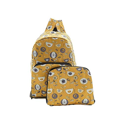 ECO CHIC Foldaway Back Pack/School Bag/Shopping Bag - Made From Recycled Plastic Bottles - 1950's Flower (Mustard)