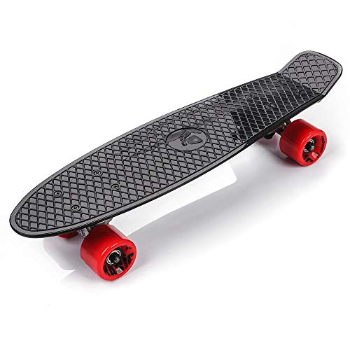 Retro-Skateboard 56cm, Mini-Cruiser, Kunststoff-Board, perfektes Komplettboard, Vintage-Skateboards, perfekt für Kinder, Jungen, Mädchen, 23660, Schwarz/Rot/Silber