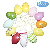 HusDow 16 Pezzi Uova di Pasqua Decorazioni Uova Pasquali da Appendere Decorazioni Per Alberi di Pasqua