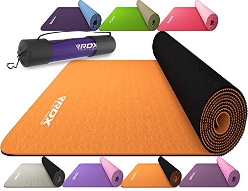 RDX Esterilla de Yoga TPE de 6 mm Alfombrilla de Ejercicio Antideslizante Reach Certificación RoHS Fitness Pilates Gimnasia con Bolsa de Transporte Equipo de Fitness para el hogar 183 X 61 X 0,6 CM