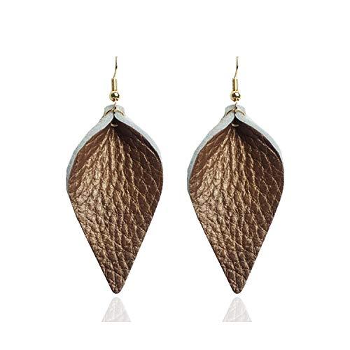 F-pump Damen-Ohrringe aus echtem Leder, Blatt-Design, schlicht, klein, Statement-Ohrringe, Lederschmuck, Mode-Accessoire, -F-