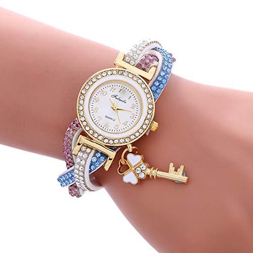 Quartz Watch Women's Watch 3 Pieces Of Ms. Padlock Multi Color Bracelet, Durable Strap, Comfortable Fabric Touch two flower (Color : White)