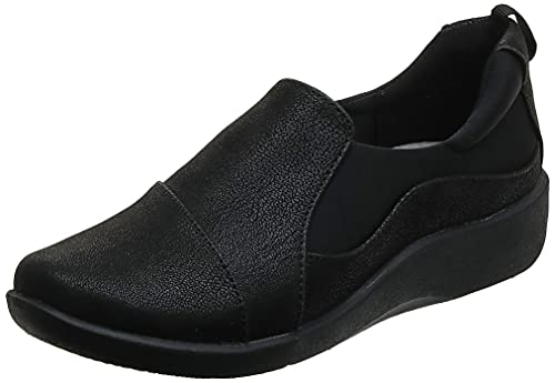 Clarks Women's CloudSteppers Sillian Paz Slip-On Loafer, Black Synthetic Nubuck, 10 W US