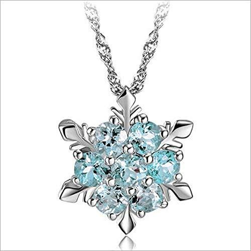 DQCY Collar Colgante de Copo de Nieve de Cristal Azul de Piedra Natural para Mujeres niñas Año Nuevo Collar de Cadena Larga -A