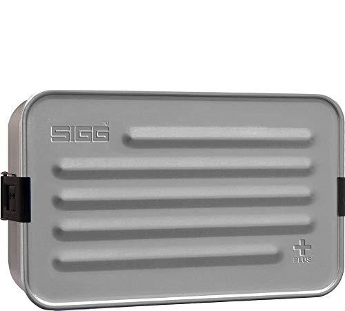SIGG Metal Box Plus L, Lunchbox 1.2 L, moderne Brotdose mit praktischem Einsatz, federleichte Brotbox aus Aluminium mit Trennwand, Silber