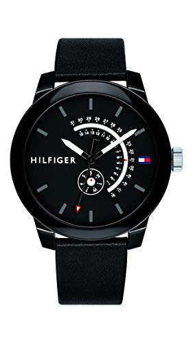 Tommy Hilfiger Men's Quartz Watch with Leather Calfskin Strap, Black, 18.8 (Model: 1791479)