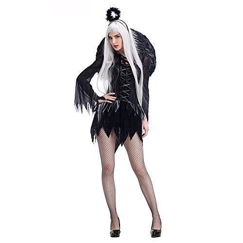 Costour Damen Schwarzer Engel Hexe Cosplay Kostüm Kleid Karneval Halloween Fasching Gothic, Schwarz, Medium