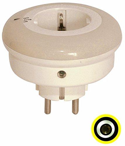LED-Nachtlicht mit 3 weißen LED´s, mit Dämmerungsautomatik und Kinderschutz Funktionen: Dauerlicht / AUS / AUTOMATIK Stromquelle: Steckdose 230 V/AC-50 Hz